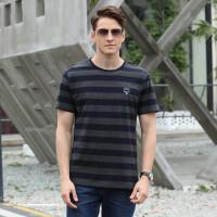 9833吉普盾夏装新款弹力条纹翻领短袖T恤衫 男士大码休闲时尚半袖polo衫潮