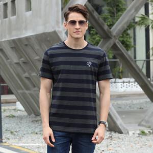8833战地吉普夏装新款纯棉弹力条纹翻领短袖T恤衫 男半袖polo衫潮