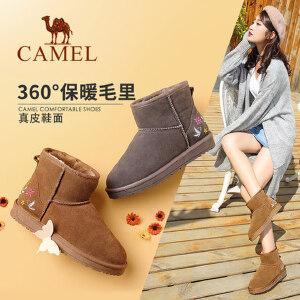 camel/骆驼女鞋 秋冬新款刺绣平底短筒女靴子韩版百搭学生保暖雪地靴