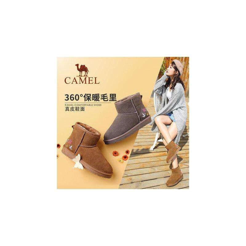 【领卷下单立减120元】camel/骆驼女鞋 秋冬新款刺绣平底短筒女靴子韩版百搭学生保暖雪地靴