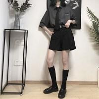 女夏短袖衬衫套装印花衬衣+西装短裤子两件套 灰色 灰衬衫+黑裤子