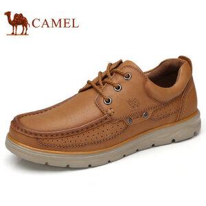 camel 骆驼男鞋 秋季新品日常休闲低帮男士皮鞋牛皮系带休闲鞋