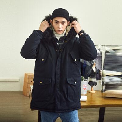 [2件1折元]唐狮冬季新款毛领棉衣男中长款工装外套学生韩版宽松潮流冬装 全场2件1折起