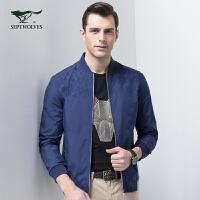 七匹狼夹克男jacket 商务时尚休闲棒球领茄克男士外套