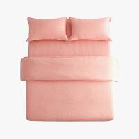 当当优品色织四件套 纯棉日式水洗磨毛床品 双人1.5米床 橘粉