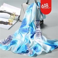 中国风丝绸 丝巾女 围巾夏季百搭长款纱巾披肩GH57 湖蓝色 国风青花瓷