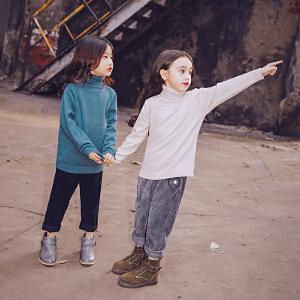 女童毛衣高领儿童针织衫2017秋冬新款童装保暖打底衫中大童上衣