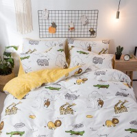 全棉四件套纯棉卡通床上用品猫恐龙被套床单床笠 1.5米宽床用 四件套