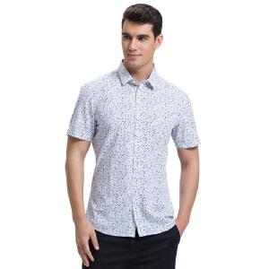 才子男装(TRIES)短袖衬衫 男士2017年新款时尚碎花舒适透气短袖衬衫