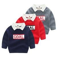 儿童毛衣秋季假两件针织衫宝宝字母上衣童装衬衫领男童线衣秋冬装