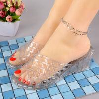 时尚高跟水晶拖鞋女夏果冻透明塑料凉拖鞋坡跟浴室厚底室外半拖鞋 36 偏小一码