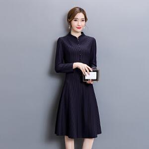 纤纯伊2018秋装新款长袖大码条纹显瘦高端品质连衣裙女春秋