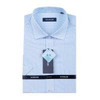 Youngor/雅戈尔男士商务新款纯棉免烫蓝色条短袖衬衫SDP12276HBA