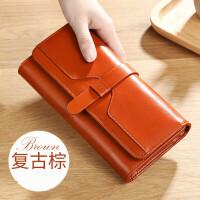 女士钱包长款2018新款多功能搭扣大容量百搭大气皮皮夹子钱包女 复古棕 (Q90)
