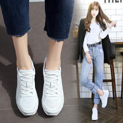 ZHR2018春季新款厚底小白鞋女韩版休闲运动鞋内增高女鞋平底单鞋G103包邮 专柜同款 拍下满减 支持货到付款