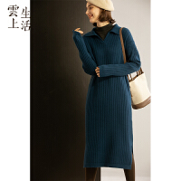 【下单领券立减120元】云上生活POLO领坑条纹针织连衣裙女长袖毛衣裙冬新款L2347