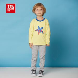 季季乐纯棉男童装春季新款长袖套装时尚星星图案中大儿童舒适两件套BCZ62010