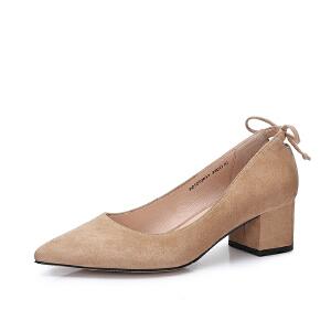 Camel/骆驼女鞋 2018春季新品 优雅尖头粗跟单鞋女纯色通勤中跟浅口鞋