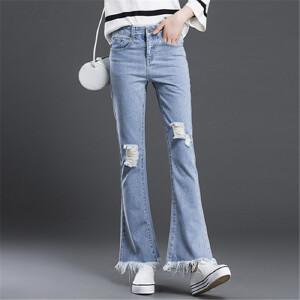 卡茗语春装新款破洞牛仔喇叭裤复古显瘦女裤长裤