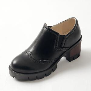 ELEISE美国艾蕾莎春季上新003-V8韩版中高跟粗跟女士布洛克鞋