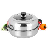 单层汤蒸锅两合一锅26cm汤锅双层蒸锅平底电磁炉火锅不锈钢蒸锅