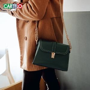 卡帝乐鳄鱼女包链条包小包包2018新款小方包百搭时尚单肩包斜挎包
