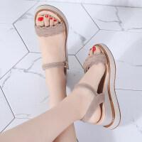 坡跟平底凉鞋女夏季新款韩版百搭厚底时尚一字带高跟学生女鞋