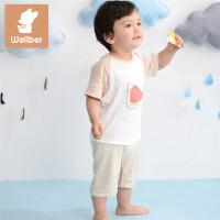 威尔贝鲁(WELLBER)夏季短袖婴儿连体爬服竹纤维 宝宝衣服春秋款新生儿哈衣