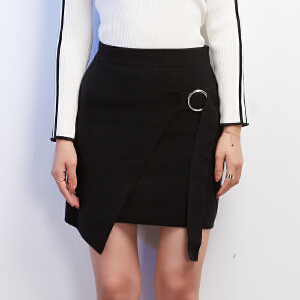 韩版环扣装饰短裙高腰显瘦系带百搭不规则金属圈绑带包臀半身裙秋