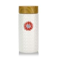 乾唐轩活瓷彩绘生命之花阳光随身杯木纹盖创意陶瓷水杯子礼物