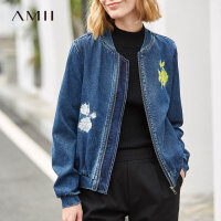 Amii极简复古风全牛仔老虎刺绣棒球服外套2019秋新款拉链直筒外套