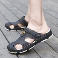 夏季包头护脚趾沙滩洞洞鞋男士大码厚底拖鞋搭扣防滑耐磨室外凉鞋