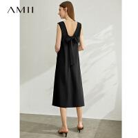 Amii极简休闲度假风圆领绑带连衣裙2021夏季新款露背垂感背心裙子