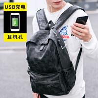 男士背包双肩包皮质时尚潮流PU皮学生书包休闲旅行包包韩版潮包jyl