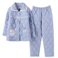 冬天夹棉睡衣女士冬季加厚三层纯棉长袖棉袄加棉加大码家居服套装