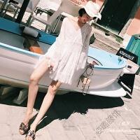 沙滩裙海边度假白色仙女蕾丝短款小心机连衣裙夏 图片色
