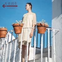 生活在左春夏季女装新款短袖连衣裙女复古文艺休闲中长款裙子宽松