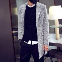 秋冬春季中长款青年修身外套立领男士毛呢布单排扣韩版风衣