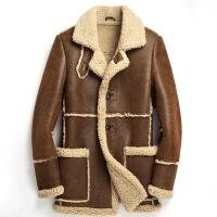 №【2019新款】冬天穿的原生态冬加厚男士皮毛一体真皮皮衣男中长款皮草大码潮绵羊皮外套