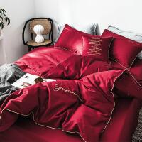 20191105201156853简约结婚四件套大红新婚纯棉60支长绒棉刺绣喜被婚礼婚庆床上用品 红色