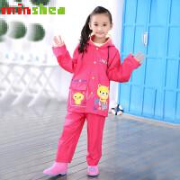 摩托车雨衣男分体式名盛时尚儿童雨衣套装雨裤雨衣分体式男童女韩国小学生大帽檐 名盛新款套装MS-2099 玫红色小黄熊