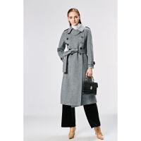 赫本风人字纹双面羊绒大衣女中长款2018新款阿尔巴卡秋冬毛呢外套