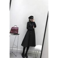 黑色呢子大衣女中长款韩版2018新款冬时尚修身显瘦毛呢外套 黑色现货