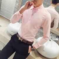 韩版修身潮男长袖衬衫衣 美发师理发店发廊调酒吧KTV服务员工作服