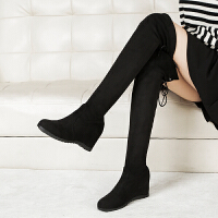 2019秋冬新款高跟坡跟�n版女鞋�L靴�@瘦�R丁靴后系�� 黑色