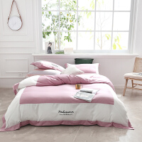 双面天丝四件套欧式丝滑裸睡床单刺绣拼接被套冰丝床上用品