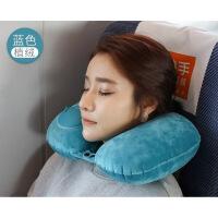 【人气】充气u型枕自动按压式旅行便携脖子头枕睡觉神器飞机护颈枕 2件8折【】 加绒