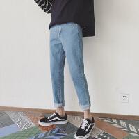 秋季港风男士九分牛仔裤修身韩版潮流裤子直筒宽松学生港风小脚裤 蓝色