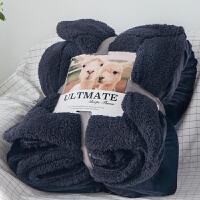 办公室午休毯子 冬季双层加厚珊瑚绒法兰绒毯子单人双人盖毯午睡毯羊羔绒毛毯被子