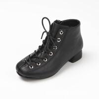 女童靴子秋冬2017新款潮韩版小高跟公主鞋儿童马丁靴单靴女童短靴